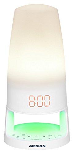 MEDION MD 43289 Lichtwecker mit Funktion Sonnenaufgang, Sonnenuntergang, LED, Radio zum Aufwachen, Einschlafen, natürlichen Wecktöne, weiß