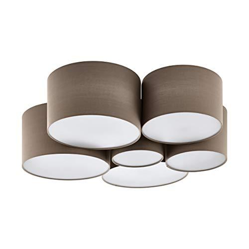 Preisvergleich Produktbild EGLO Deckenlampe Pastore,  6 flammige Textil Deckenleuchte,  Farbe: Weiß,  taupe,  Material: Stahl,  Stoff,  Fassung: E27