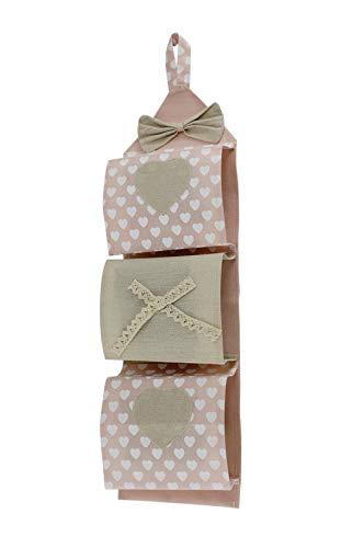 Vetrineinrete® Portarotolo in tessuto da appendere 3 posti porta rotoli carta igienica da muro stile shabby chic bagno (Rosa) E47