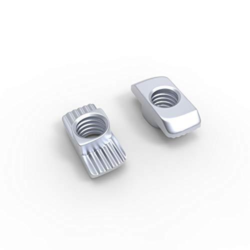 FLEXI Hammermutter Nut 6, Nut 8, Nut 10 - M4, M5, M6, M8. Stahl Verzinkt. Aluprofil Passen Bosch Raster 20, 30, 40, 45 (10, Nut 6 - M4)