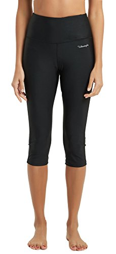 Ubestyle UPF 50+ High Waist Women's Yoga Capri Leggings Swimming Tights Sun Protectiv (3002BLACKXL)