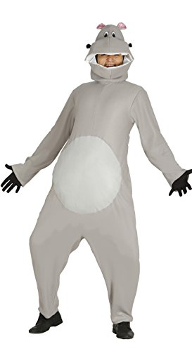 Guirca Nilpferdkostüm für Erwachsene grau Hippo Tier Herrenkostüm, Größe:L