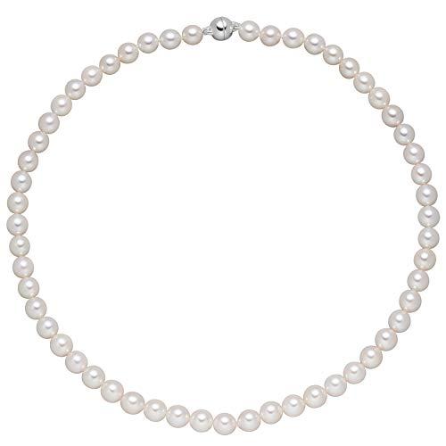 Jobo Damen Kette mit Akoya Perlen und 925 Sterling Silber 43 cm Perlenkette Halskette