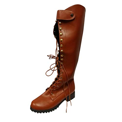 heavKin-shoes Womens Over The Knee High Boots Western Cowboy Style Low Heel Lace-Up Vintage Knight Boots (Brown, 10-Women-US)