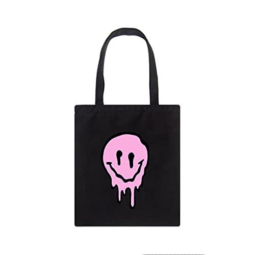 Bolsos de mujer de sonrisa gótica de gran capacidad Harajuku de dibujos animados Vintage Hip Hop Bolso de compras Bolso de lona Bolsos de hombro de mujer divertidos, Hei03
