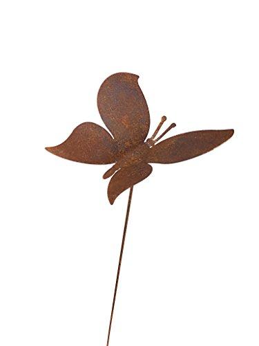 Crispe home & garden Gartenstecker Edelrost - wippender Schmetterling klein - Höhe 104 cm