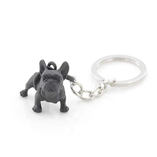Nian Schlüsselanhänger, Motiv: Französische Bulldogge, Vintage-Stil, 3 Farben, niedliches Design, für Hunde und Mädchen Black Gun