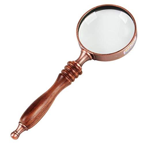 HYY-YY Lezen Bril Handheld Draagbare 10X HD Vergrootglas Effen Hout Handvat Oude Man Kinderen Retro Microscoop Vergrootglas