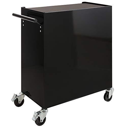 Arebos Werkstattwagen 4 Fächer + großes Fach/mit Antirutschmatten / 2 Rollen mit Festellbremse (Schwarz) - 8