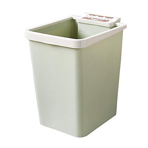 YQJ Schlafzimmer-Mülleimer, rechteckig, 12 l, Kunststoff, Papierkorb mit Smiley-Muster, Müllbehälter mit Müllbeutel, Platz für Zuhause und Büro, plastik, grün, Größe