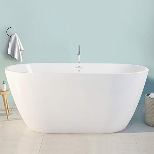 FerdY Bali 55' Freestanding Bathtub Gracefully Shaped Freestanding Soaking Bathtub, cUPC Certified, Glossy White Freestanding tub with Brushed Nickel Drain & Integrated Slotted Overflow, 02538