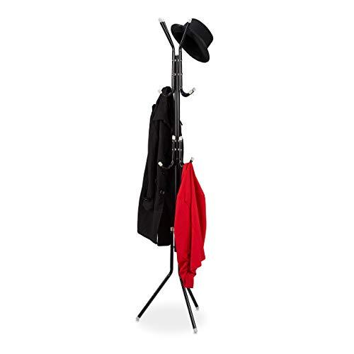 Relaxdays Garderobenständer, Metall, 12 Haken, HxBxT: 180 x 44 x 39 cm, freistehend, stabil, Jackenständer, schwarz
