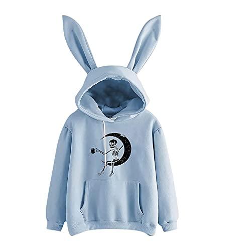 Wave166 Sudadera con capucha para mujer, diseño de orejas de conejo humanoides con calaveras, manga larga, cuello redondo, sudadera con capucha, suelta, para fiestas, azul, XL