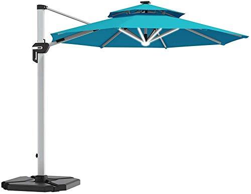 YRRA 12 FT LED Cantilever Offset Patio Patio Paraguas con Base de Peso Doble Top Paraguas Colgante Solar con Base Cruzada Y Rotación de 360 Grados-Turquesa