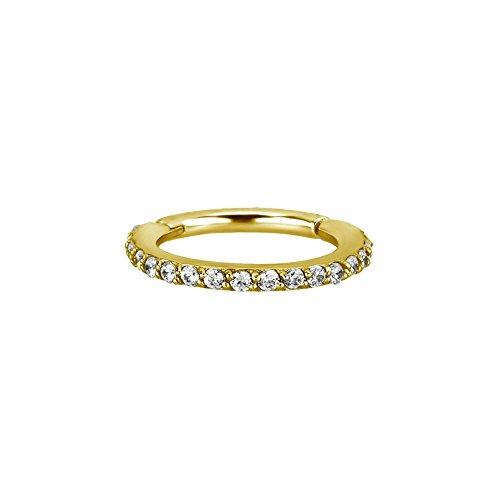 Trend Agent SEGMENTRING Clicker mit echten Swarovski® Kristallen 1.2 x 10 mm   Gold   Klar  