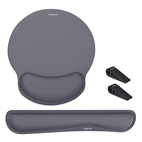 MOSISO Wrist Rest Support for Mouse Pad&Keyboard,Ergonomic Mousepad Raised Memory Foam Set Non-Slip Rubber Base Home/Office Pain Relief&Easy Typing Neoprene Cloth Cushion with Laptop Stands,Space Gray