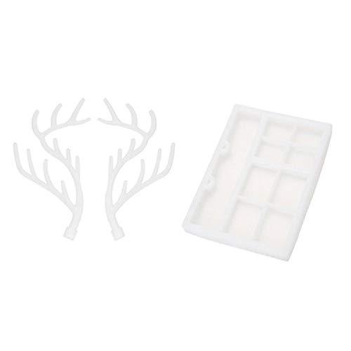 TOPmountain Molde de resina de silicona con forma de cuerno de ciervo con organizadores de joyas, molde de resina epoxi, bandeja cosmética para fondant, molde de resina de ciervo
