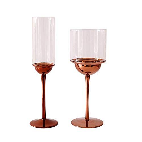 LLYAND Copas de vino creativas, copas de vino de cristal, juego de copas de vino tinto, galvanoplastia de cristal, textura de metal