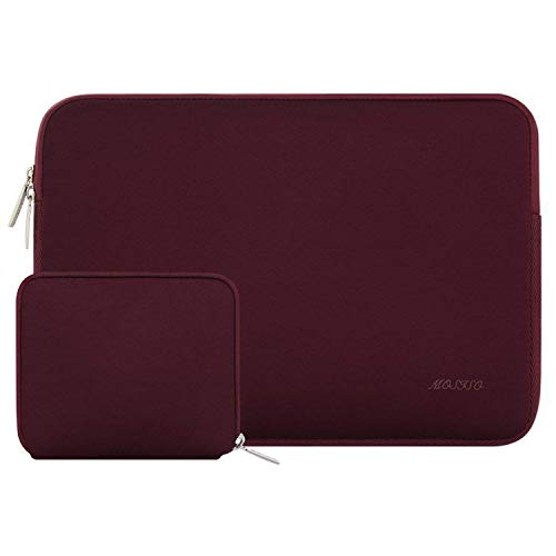 MOSISO Wasserabweisend Neopren Hülle Sleeve Tasche Kompatibel mit 12,3 Zoll Microsoft Surface Pro X/7/6/5/4/3, 11-11,6 Zoll MacBook Air, Ultrabook Laptoptasche mit Klein Fall, Weinrot