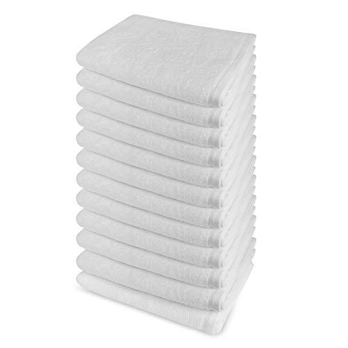 Banzaii - Juego de toallas Maxi Medidas - 12 toallas de ducha 100 x 150 cm Blanco