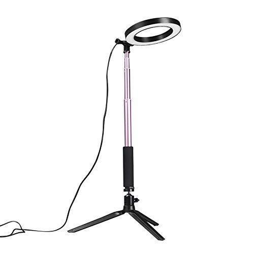 Ruiqas Mini Video Studio LED Fotocamera LED Luce Dimmerabile Lampada Video con treppiede Selfie Stick Fill Light per Illuminazione dal Vivo (Color : Pink)