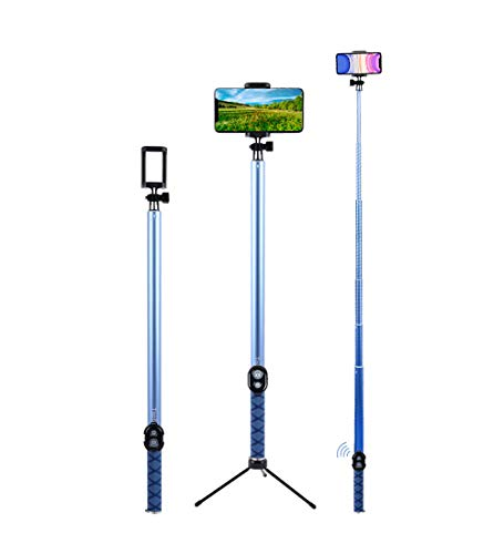 Selfie Stick, Palo de Selfie Plegable extralargo de 118 Pulgadas Extensible con Mando a Distancia inalámbrico Bluetooth y Soporte Ajustable para iPhone, Samsung y Android Todos los Smartphones