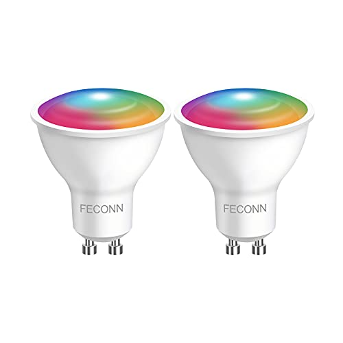 Smart Bulb GU10, Compatible with Alexa and Google Home, Colour and Switchable White Spotlight Bulbs, No Hub Required(2 Pack) FECON