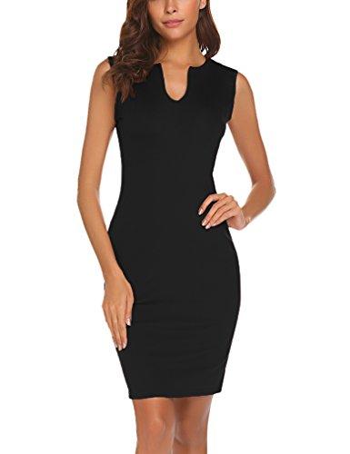 Naggoo Women's Business Wear To Work Sleeveless V Neck Bodycon Pencil Dress, Black, 6/8 (Apparel)