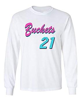 Shedd Shirts Long Sleeve White Miami Jimmy Buckets VICE City T-Shirt Adult