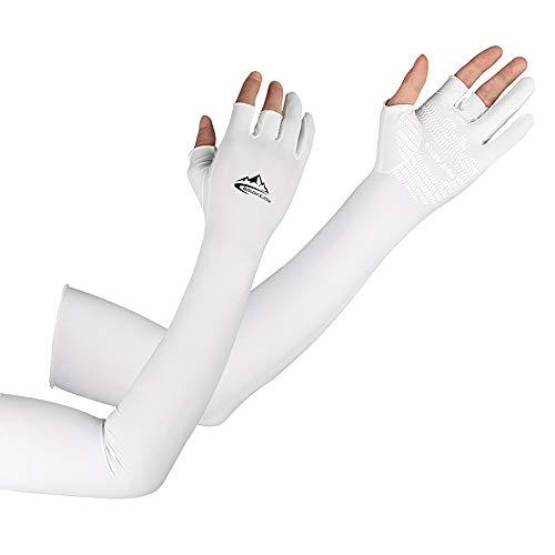Lixada Mangas del Brazo de Enfriamiento con Dedos Ergonómicos Hombres Mujeres Protección Solar UV Mangas Largas de Los Brazos Cubierta para Ciclismo Conducción Correr Golf Golf Baloncesto