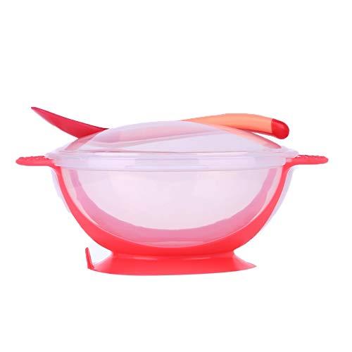 Qxinjinxfhe 3pcs / set Tazón + cubierta + Cuchara Vajilla Cubiertos Sets Resistencia a las caídas de temperatura detecta la cuchara Sucker comedero cuencos (Color : Pink)