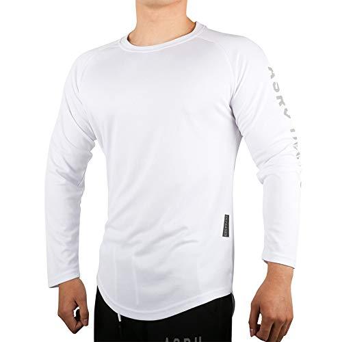 Nueva Camiseta de Manga Larga con Cuello Redondo para Hombre, Camisa de Fitness, Camisa de Fondo