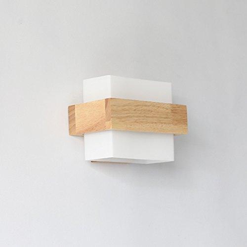 Leuchter FUFU Moderne kreative Mode einfache und warme Massivholz quadratischen Schlafzimmer Wohnzimmer Schlafsessel Wand Lampe