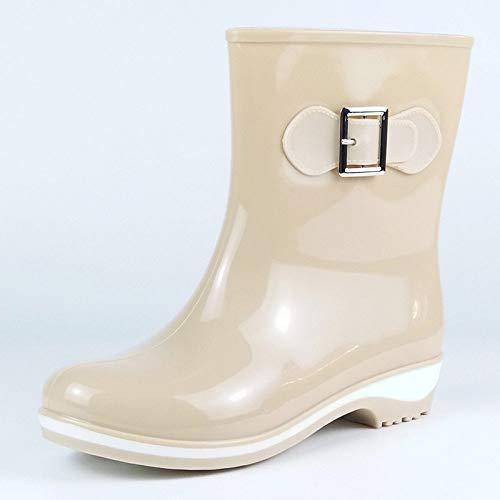 Dames korte rubberlaarzen, medium tube Fashion strijkijzer, gesp, wit, aantoonbaar van Chelsea zachte binnenvoering, waterlaarzen, gewatteerd voetbed, wellington voor over-helder
