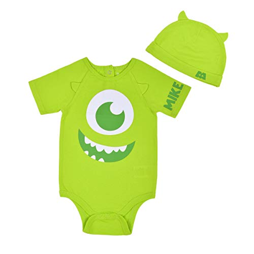 Disney Baby's Short Sleeve Onesie with Cap, Monsters