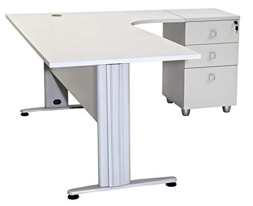Furni24 Schreibtisch Winkelschreibtisch Homeoffice Dona Grau 180 cm x 120 cm x 74 cm inkl. Beistellcontainer rechts gewinkelt