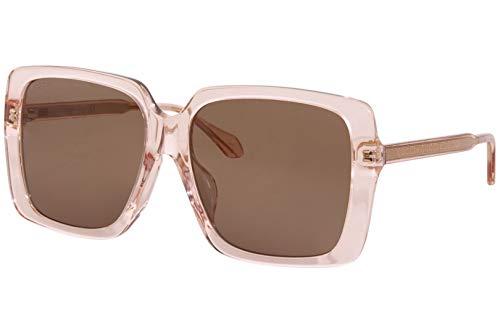 Gucci 0567SA 004 Pink Crystal Plastic Square Sunglasses Brown Lens, 58-16-145