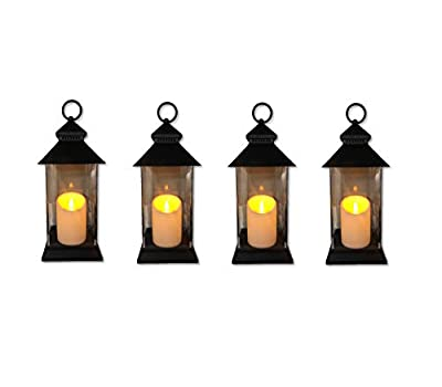 """Just In Time for Spring {4 Pc Set} 12.5"""" Decorative Lanterns With Flameless LED Lighted Candle - 5 Hr Timer Modern Look Indoor Outdoor for Home, Garden, Patio, Party Lights, Weddings - White"""