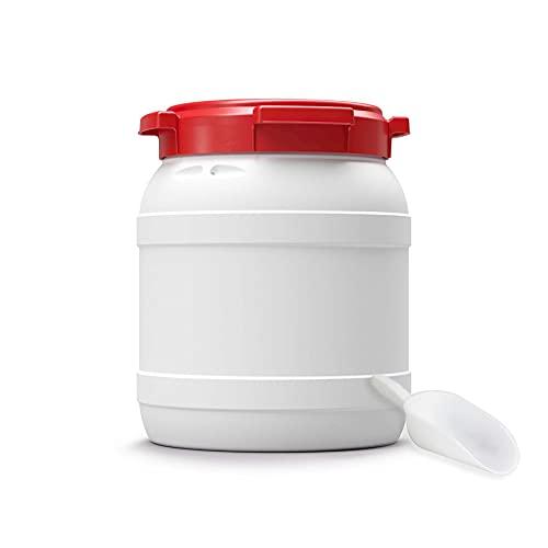 Futtertonne für Tierfutter mit Deckel & Schaufel | Große Öffnung | Tierfutterbehälter | Futtercontainer | Futterbox | HDPE | Top-Qualität (15 Liter)
