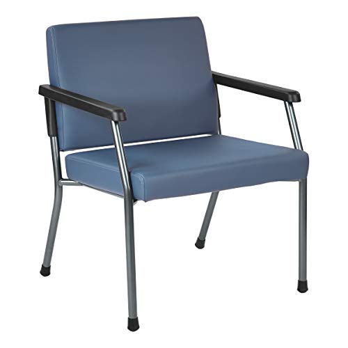 Office Star Bariatric Big and Tall Medical Office Chair with Extra Wide 26' Seat and Sturdy Metal Frame with Back Reinforcement, Dillon Blue Faux Leather Fabric, 400 Pound Capacity