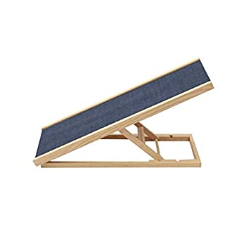 Bounabay Dog Pets Ramp for Vehicle Height Adjustable Support up to 100 Lbs with Non-Slip Carpet Wooden Pets Ladder Dog Car Ramps Stairs for Cars Bed  2 Levels 27.56 /70cm Length