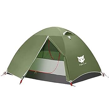 Night Cat Tente de Camping pour 2 Personne Homme Imperméable Tentes de Randonnée Installation Facile Poids Léger pour la Randonnée Arrière-Cour