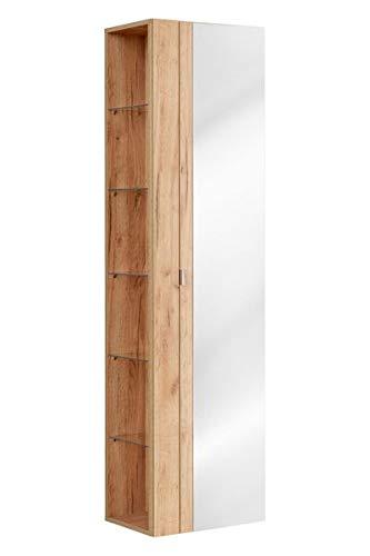 Jadella Hochschrank \' Sun II \' Badschrank Eiche Honig Holz Dekor 170cm hoch Badmöbel Schrank Spiegel