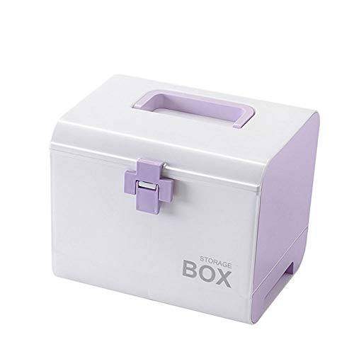 SupShop Medizinbox, Ablageboxen Tragbare Erste-Hilfe-Box, Arzneimittelbox, Medikamentenbox, Haushaltsmedizin Box, Erste-Hilfe-Kasten, Medizin Box mit Griff mit Herausnehmbarem Ablagefach,Purple