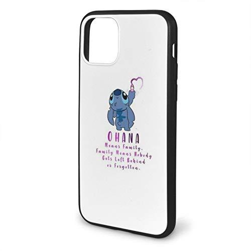Leonsense Lilo and Stitch Ohana Funda de Teléfono Negra Compatible con iPhone 12/12Pro MAX 11 11 Pro MAX XR XS SE 2020/7/8 6/6s Plus Samsung Series Caso