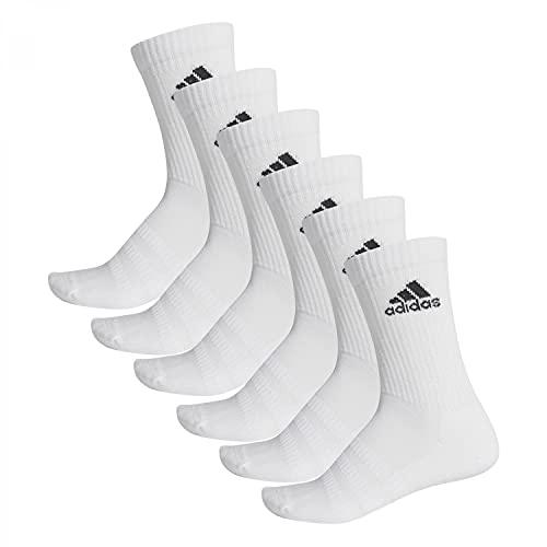 adidas Mens Crew Socks Cush Crw 6Pp, White/White/White/Whi, DZ9353, KM EU