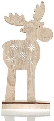 com-four® Renna LED Taglia XL, Figura di Renna in Legno con Illuminazione a LED, Bellissima Statua di Alce, Ottima Luce per Natale, Altezza ca. 40 cm [la Selezione Varia]