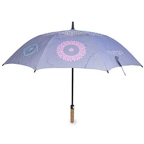 Myga RY1399 - Paraguas para chacras (47 pulgadas, resistente al viento, apertura automática, mango de corcho, protección solar, lluvia y resistente al viento
