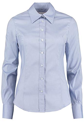 Kustom Kit Chemise Oxford à manches longues pour femme - Bleu - 40