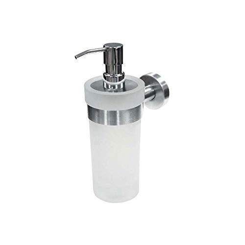 Distributeur de savon liquide - Contenance : 200 ml - Matériau : Inox - Profondeur : 130 mm - Hauteur : 212 mm - Largeur : 77 mm - Platine : Ø 52 mm - Décor : Brossé - ITAR